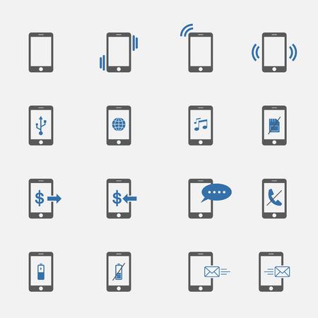 two tone: two tone phone symbol icons set.vector.illustration