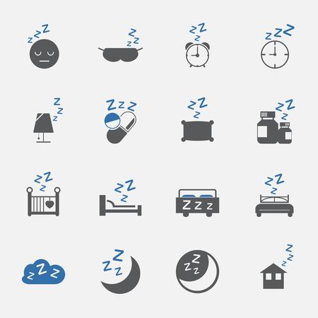 sedate: two tone sleep and lifestyle icons set.vector . illustration Illustration