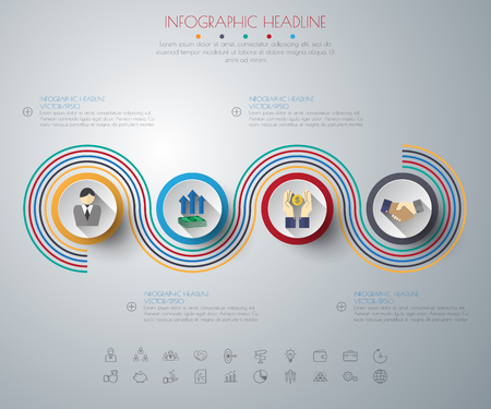 timeline infographics with icons set. vector. illustration. Vetores