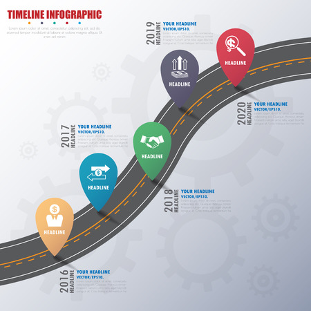 Timeline infografiki z ikonami ustawiony. wektor. ilustracja.