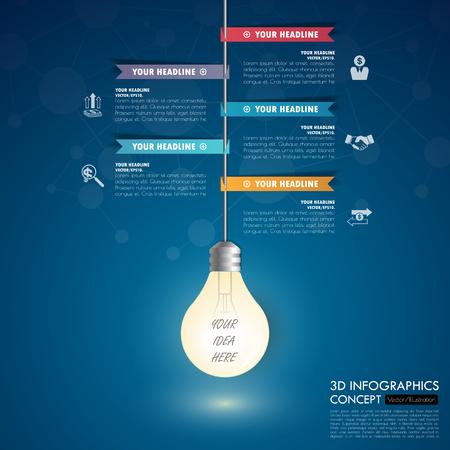 timeline: 3d light bulb timeline infographics with icons set. vector. illustration.