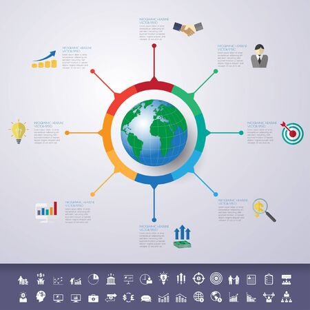 timeline infographics with icons set. Ilustração