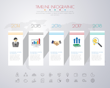 investment concept: timeline infographics with icons set. vector. illustration.