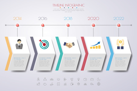 infografica Timeline con il set di icone. vettore. illustrazione. Vettoriali