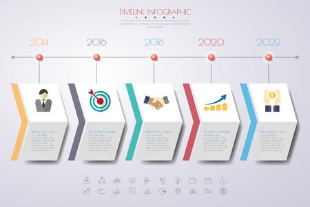 tijdlijn infographics met pictogrammen set. vector. illustratie. Vector Illustratie