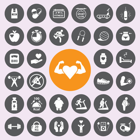 fitness equipment: healthy and fitness icon set.Vector. Illustration