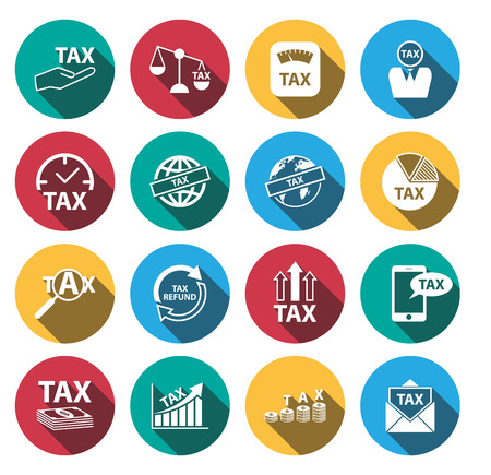 finance department: flat long shadow tax and money icons set.vector. illustration