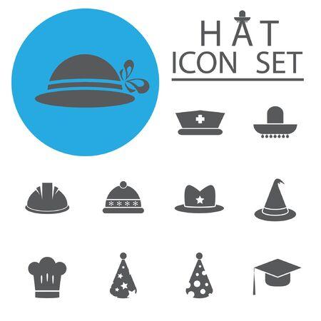 ribbin: Hat Icon Set.Vector Illustration
