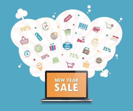 desktop: Online shopping concept desktop background.vector. illustration.