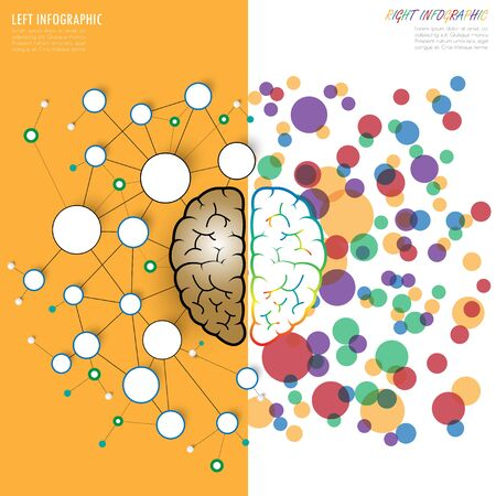 analytical: left and right brain functions concept, analytical vs creativity. vector. illustration.