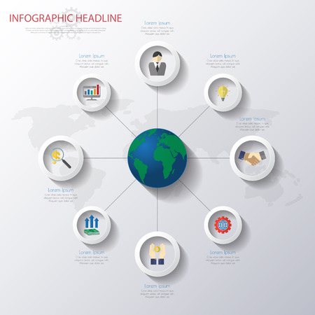 web design elements: world map infographics with icons set.vectorillustration
