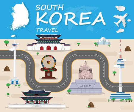 共和国の韓国ランドマーク世界旅行と旅インフォ グラフィック ベクトル Design.vector イラスト。