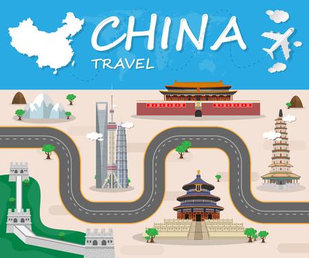 중국 랜드 마크 글로벌 여행 및 여행 인포 그래픽 브로셔. 벡터 디자인 Template.illustration.