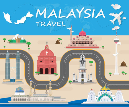 postcard design: Malaysia Landmark Global Travel And Journey Infographic Vector Design Template. vector illustration. Illustration