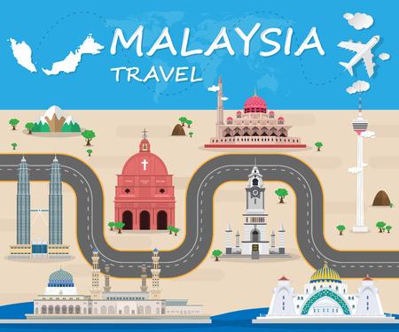 Malaysia Landmark Global Travel And Journey Infographic Vector Design Template. vector illustration. Stock Illustratie