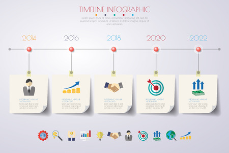 timeline infographics with icons set. vector. illustration. Stock Vector - 55133404
