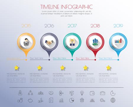 elemento: infografica Timeline con il set di icone. vettore. illustrazione. Vettoriali