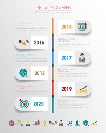 infografía de línea de tiempo con los iconos fijados. vector. ilustración. Ilustración de vector