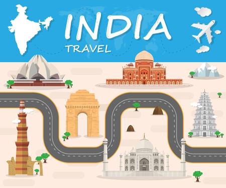 인도의 랜드 마크 글로벌 여행 및 여행 인포 그래픽 벡터 디자인 템플릿