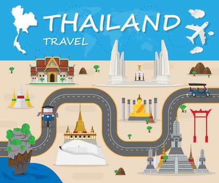 태국의 랜드 마크 글로벌 여행 및 여행 인포 그래픽 벡터 디자인 Template.vector 그림 일러스트