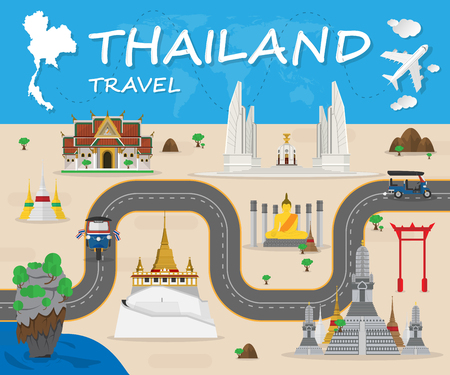 Thailand Landmark Global Travel And Journey Infographic Vector Design Template.vector illustration Ilustração