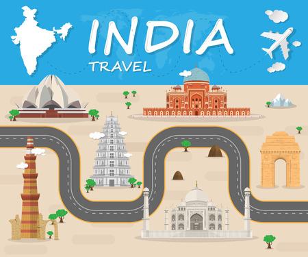 인도 랜드 마크 글로벌 여행 및 여행 Infographic 벡터 디자인 Template.vector 그림 일러스트