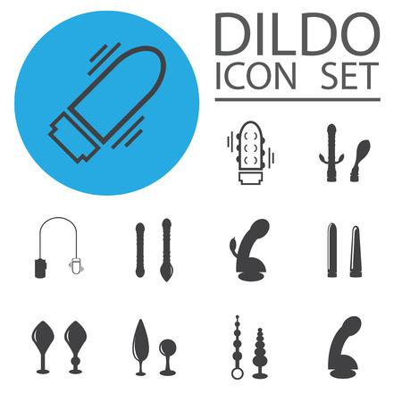 Vector dildo, adult toys silhouettes