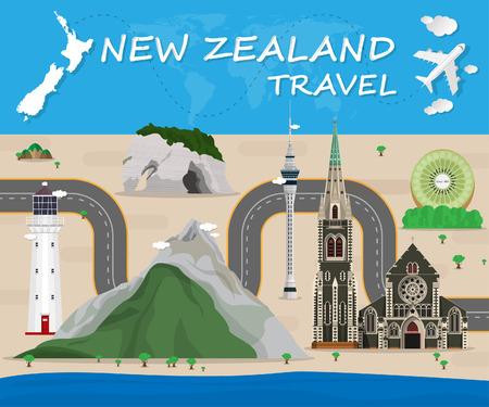 Nueva Zelanda viaje de la señal global y la ilustración de diseño vectorial Infografía Viaje template.Vector