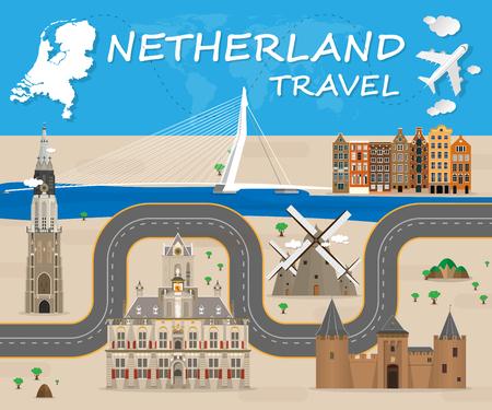네델란드 랜드 마크 글로벌 여행 및 여행 Infographic 벡터 디자인 Template.vector 그림