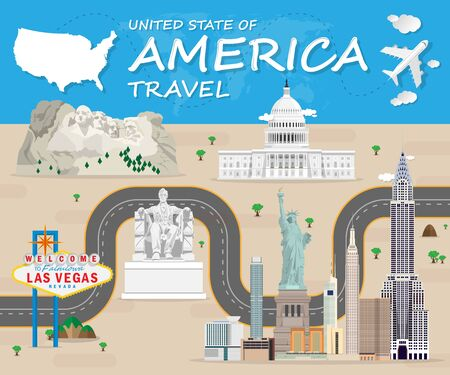 USA Landmark Global Travel And Journey Infographic Vector Design Template.vector illustration