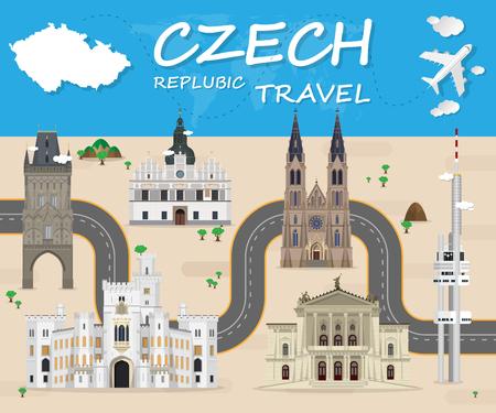 Tschechische Zeichen Global Travel And Journey Infografik Vector Design Template.vector Illustration