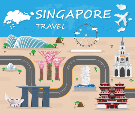 Singapore Landmark Global Travel And Journey Infographic Vector Design Template.vector  イラスト・ベクター素材