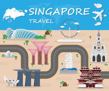 싱가포르 랜드 마크 글로벌 여행 및 여행 인포 그래픽 벡터 디자인 Template.vector 일러스트