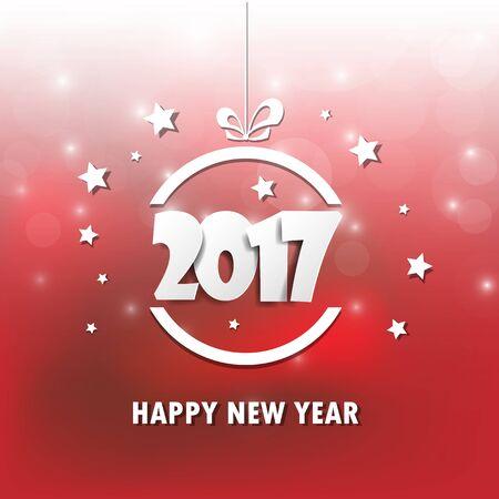 ribbin: Happy new 2017 year. Greetings card. Colorful design. Vector illustration Illustration