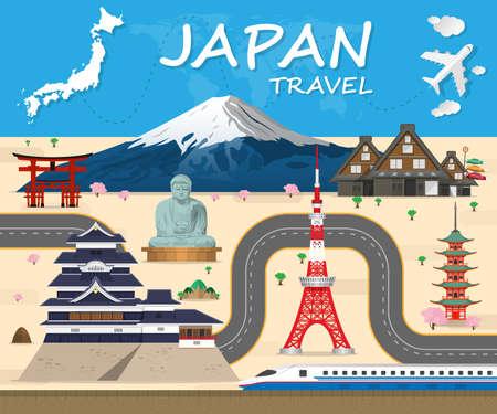일본 여행 배경 랜드 마크 글로벌 여행 및 여행 Infographic 벡터 디자인 템플릿입니다. 삽화 일러스트