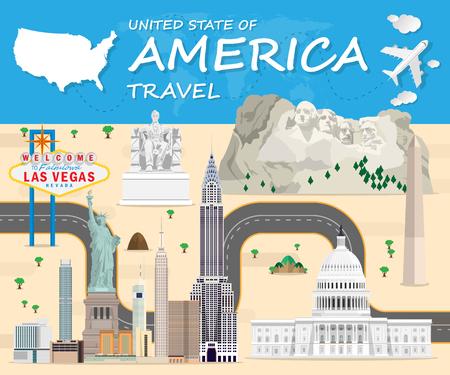 America Landmark Global Travel And Journey Infographic Vector Design Template.vector illustration.