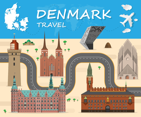 Denmark Landmark Global Travel And Journey Infographic Vector Design Template.vector illustration.