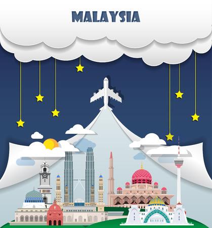 말레이시아 여행 배경 랜드 마크 글로벌 여행 및 여행 Infographic 벡터 디자인 템플릿입니다. 삽화.