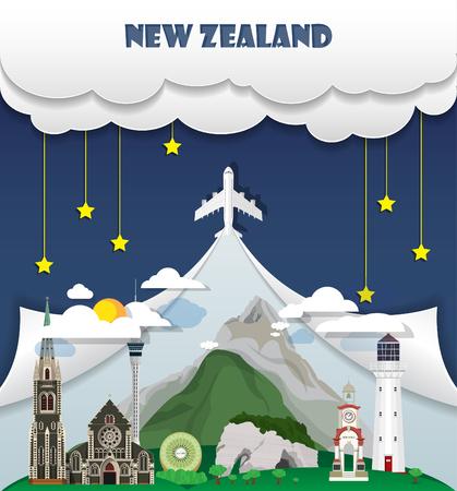 De reis van Nieuw Zeeland reisoriëntatiepunt Globale Reis en Vector het Ontwerpmalplaatje van Reisinfographic. illustratie.