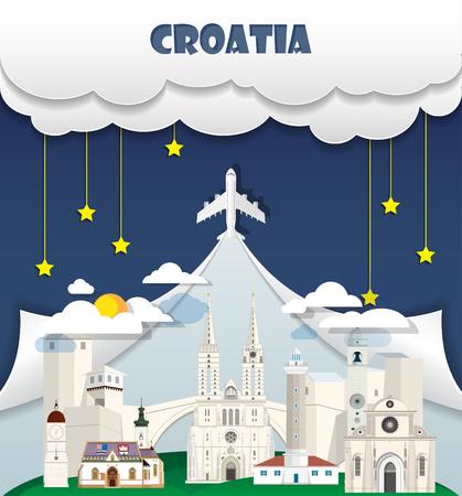 Croatia travel background Landmark Global Travel And Journey Infographic Vector Design Template. illustration. Иллюстрация