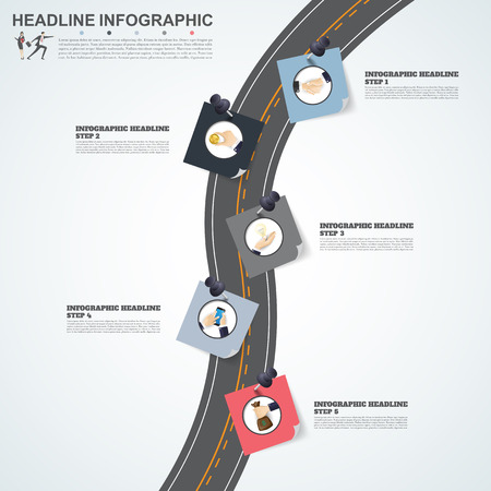 investment concept: business concept timeline. Infograph template, realistic paper 5 steps infographic, vector banner can be used for workflow layout, diagram,presentation, education or any number option