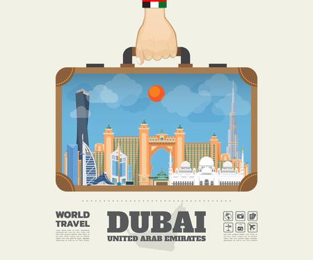 ドバイのランドマーク グローバル旅行と旅インフォ グラフィックのバッグを運ぶの手。ベクター デザイン Template.vector/illustration
