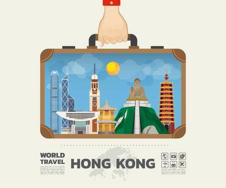 홍콩 랜드 마크 글로벌 여행 및 여행 정보 - 그래픽 가방을 들고 손을. 일러스트