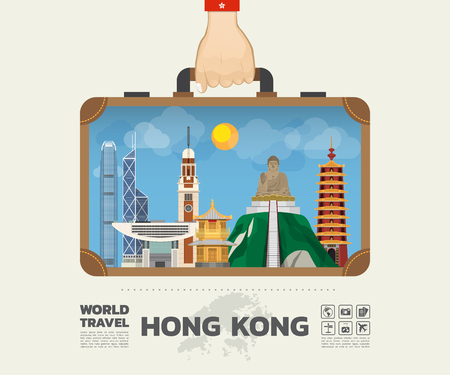 Hand carrying Hong Kong landmark global travel and journey info-graphic bag.