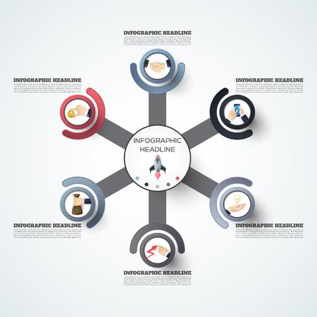 추상 infographics 번호 옵션 템플릿. 벡터 일러스트 레이 션. 워크 플로 레이아웃, 다이어그램, 비즈니스 단계 옵션, 배너, 웹 디자인에 사용할 수 있습니