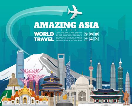 아시아 유명한 랜드 마크 종이 예술. 세계 여행 및 여행 Infographic Bag. 벡터 평면 디자인 Template.vector  illustration.Can 귀하의 배너, 비즈니스, 교육, 웹 사이