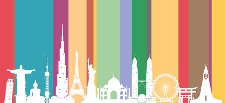 Wereld reizen achtergrond. De beroemde plaatsen van de silhouetwereld op kleurenachtergrond. Vector illustratieontwerp dat voor reclame, presentatie, luchtvaartlijnenzaken, banner of om het even welk kunstwerk wordt gebruikt