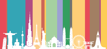 World travel background. Silhouette World famous places on color background. Vector illustration design used for advertisement, presentation, airlines business, banner or any artwork Zdjęcie Seryjne - 83402652