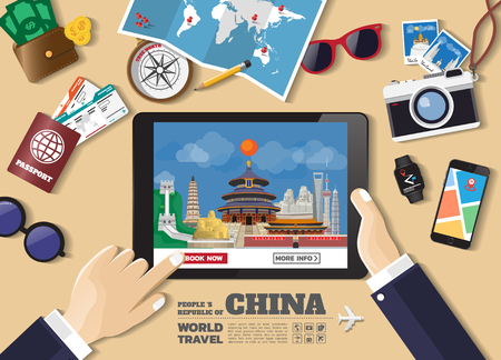 Hand holding smart tablet booking travel destination.china famous places. Vector concept banners in flat style with the set of traveling objects, accessories and tourism icons. world landmarks set