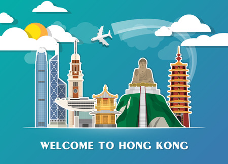 Hong kong Landmark Global Travel And Journey paper background. Vector Design Template.used for your advertisement, book, banner, template, travel business or presentation